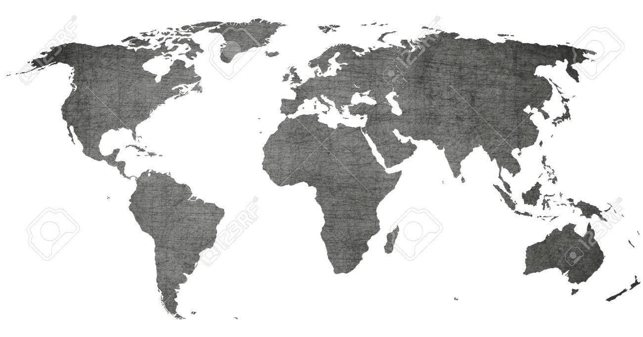 Vintage World Map Black And White On Old Texture Stock Photo - Black and white vintage world map