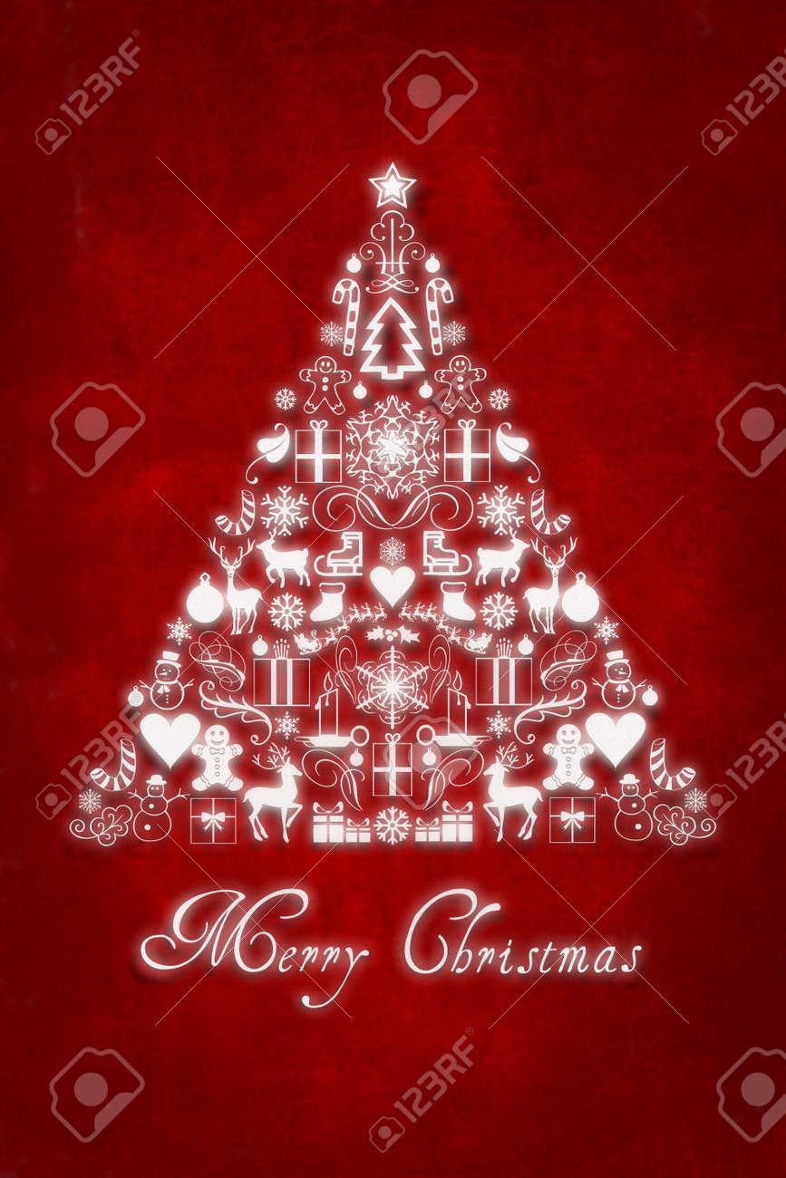 Carte De Noël Avec Sapin De Noël Et Texte Joyeux Noël Banque D