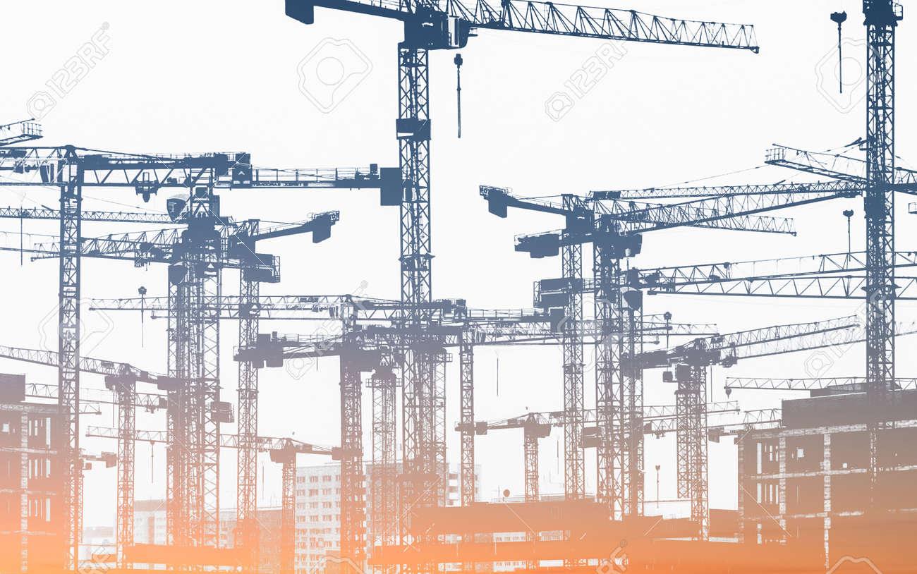 写真素材 , 建築建設クレーン工事現場イラスト