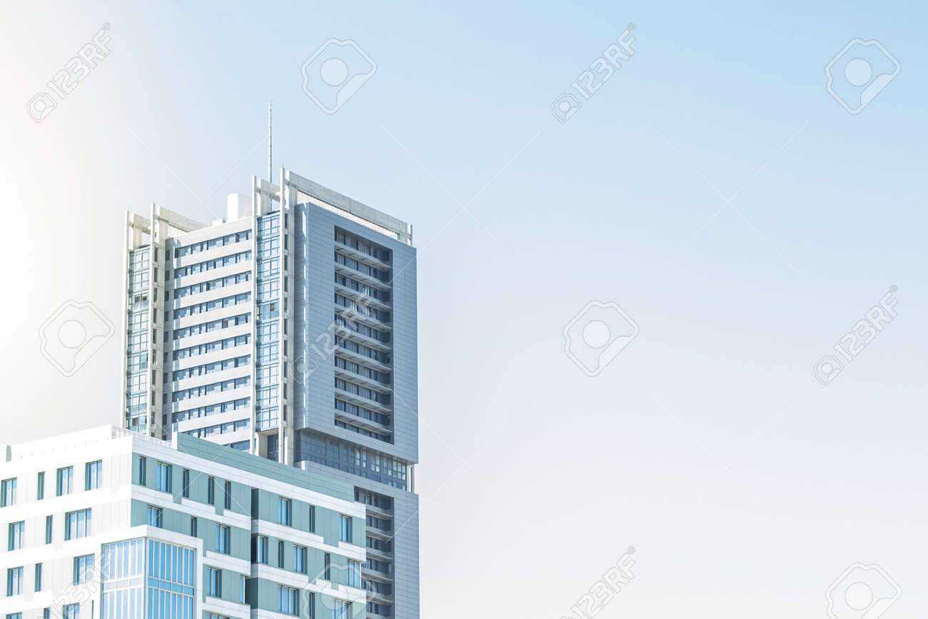 Modern Architecture Office Building Exterior Blue Sky Stock Photo