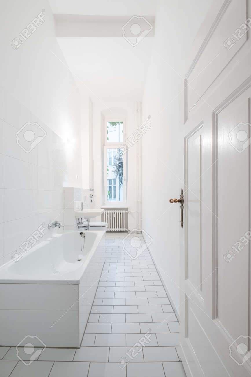 White Bathroom - Tiled Bathroom With Bathtub Stock Photo, Picture ...