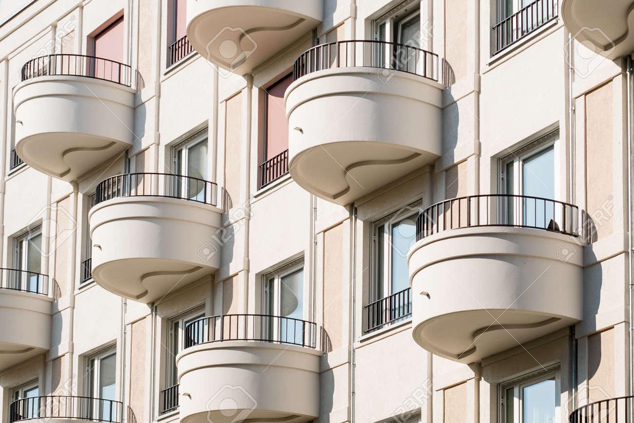 Round Balcony On Modern Apartment Building Facade Stock Photo   88333781