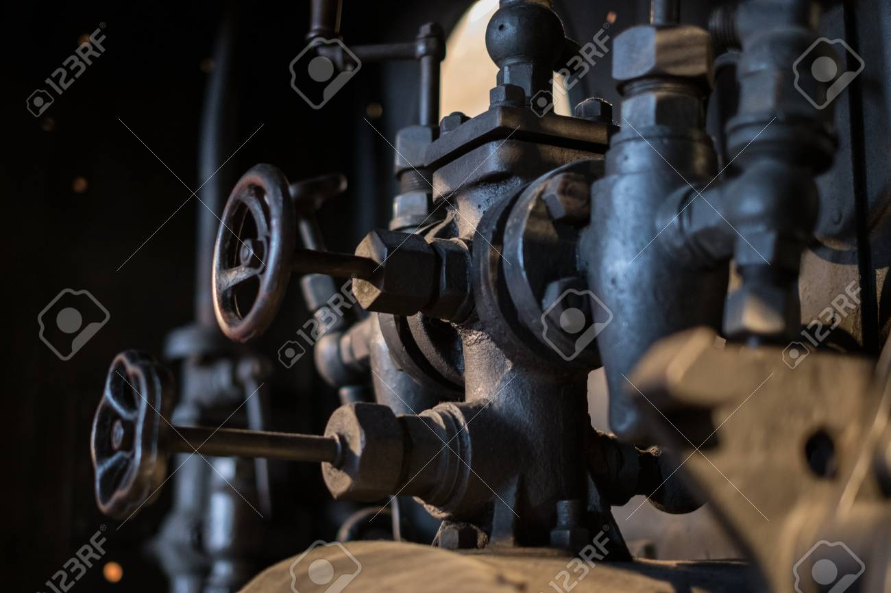 Vintage Technology, Pipes And Valves Inside Old Factory - Stock ...
