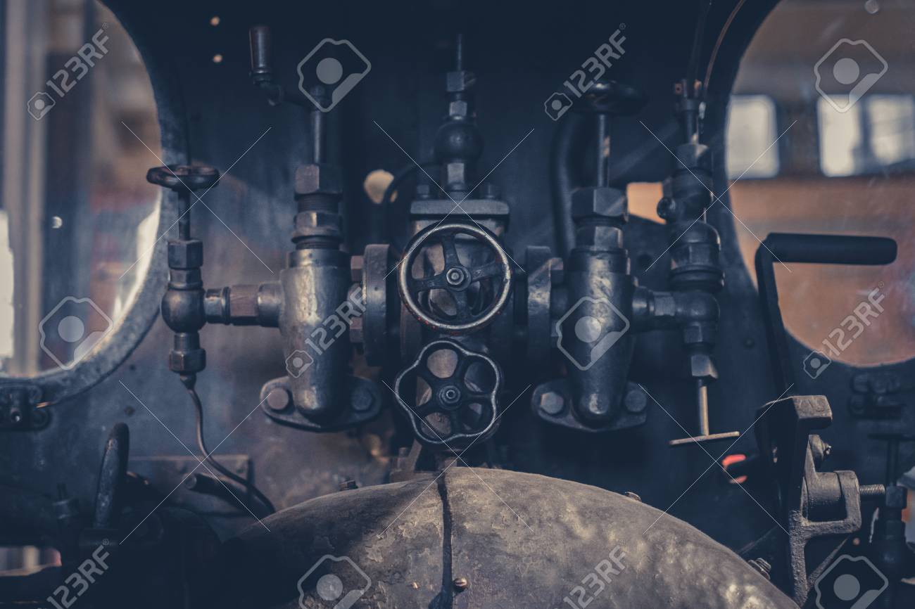 Vintage Technology - Valves And Handles Inside Old Machine - Stock ...