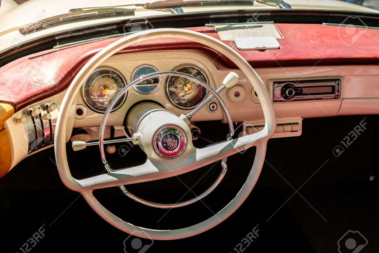 Steering Wheel, Dashboard And Interior Of A Beautiful Vintage ...