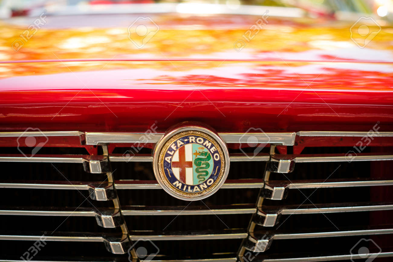 Car Design Detail And Alfa Romeo Logo Brand Name On Grill Closeup Stock Photo Picture And Royalty Free Image Image 104686584