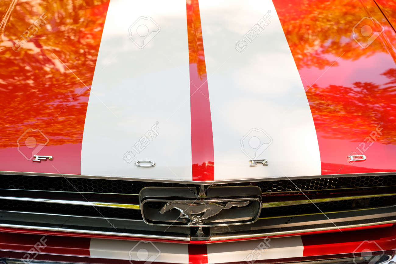Front grill and bonnet of a ford mustang car showing the logo design brand name