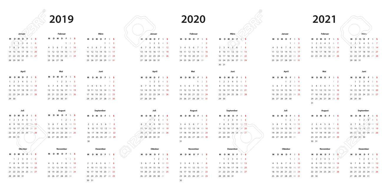 Calendrier 2020 2021.Kalender 2019 2020 2021 Kalender Einfache Vorlage Deutsch