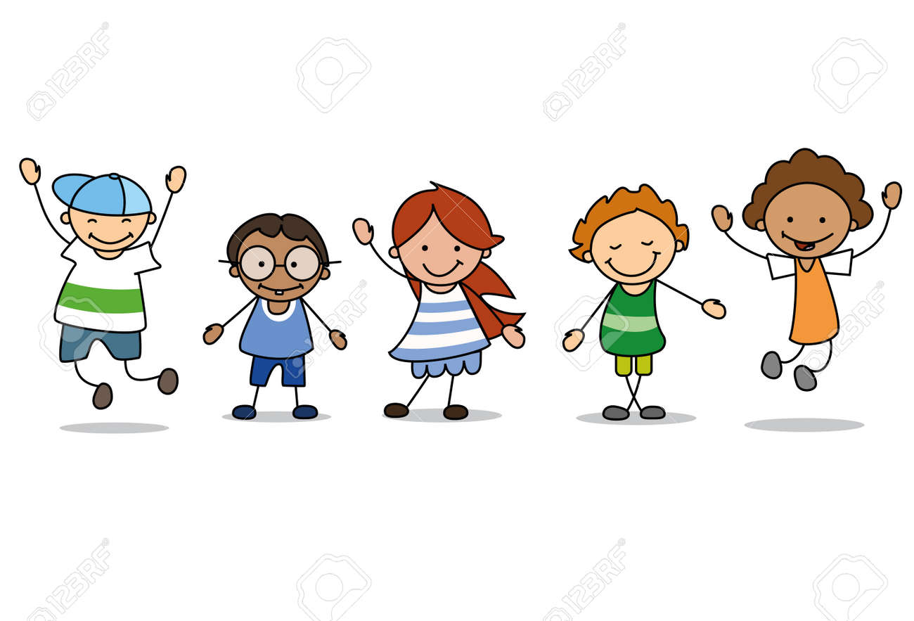 happy kids playing - children illustration , boys and girls - 117801825