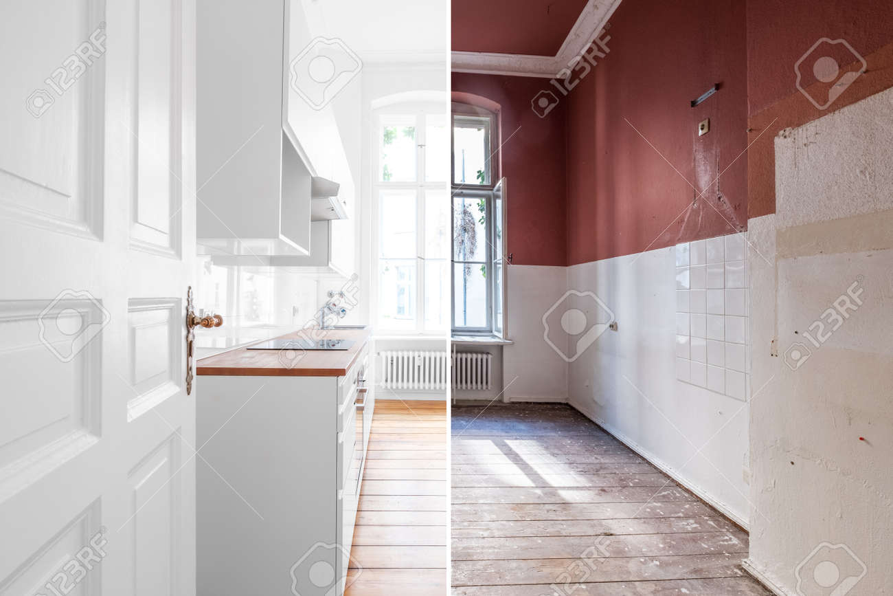 renovation concept - kitchen room before and after refurbishment or restoration - 117800573