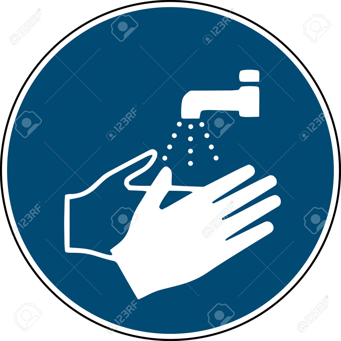 wash your hands sign - mandatory sign iso 7010 - 124253149