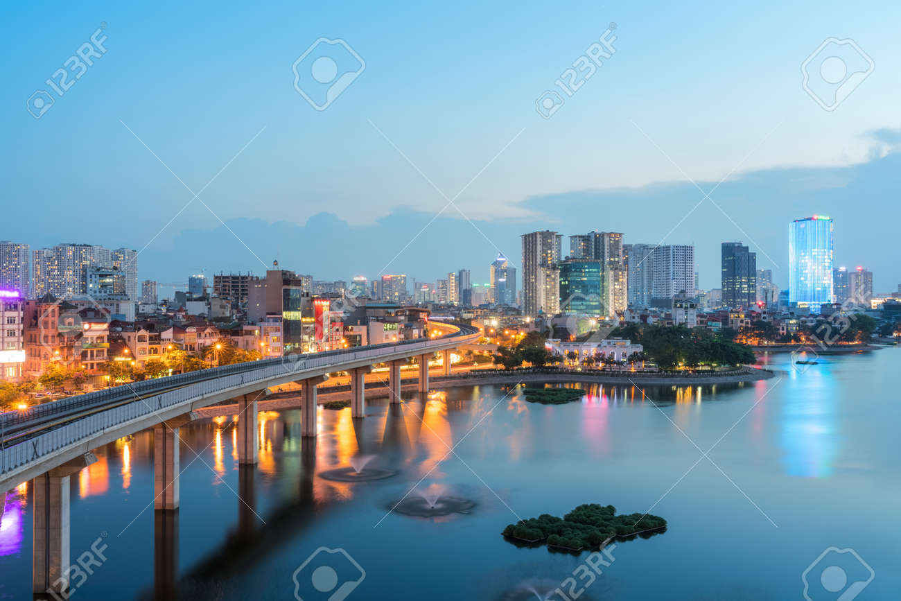 Aerial skyline view of Hanoi at Hoang Cau lake. Hanoi cityscape by sunset period - 130861849