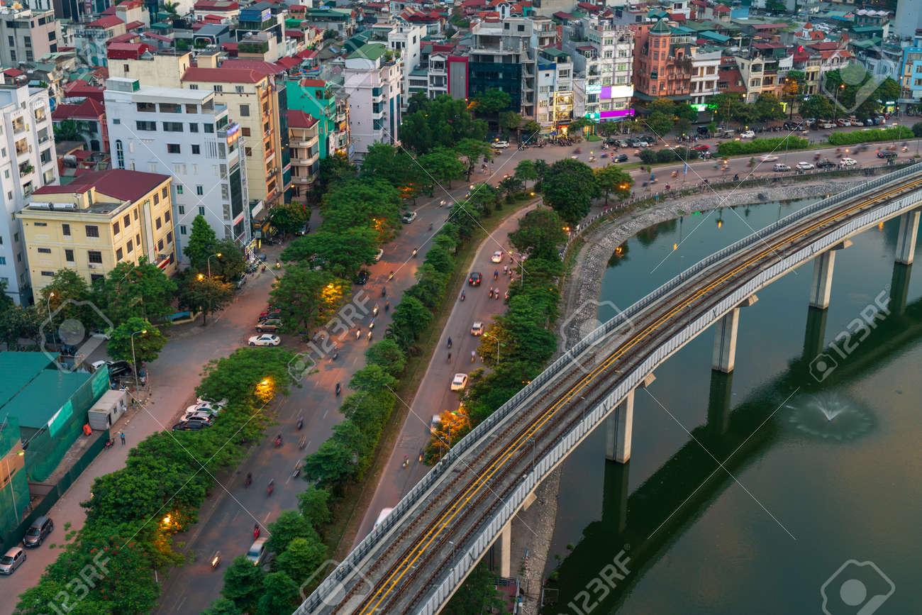 Hanoi cityscape during sunset period. Skyline view of Hanoi at Hoang Cau street - 131792112