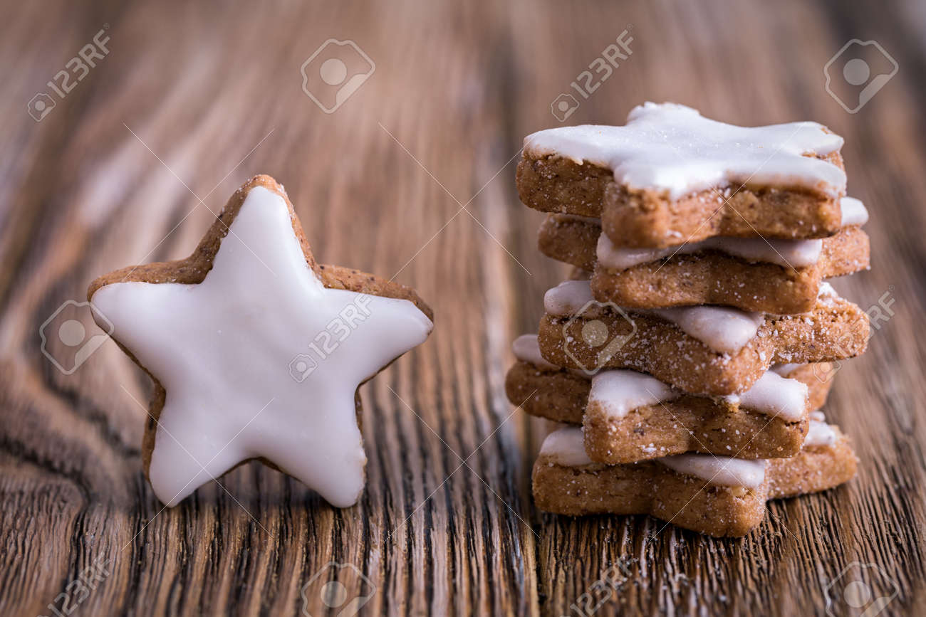 Closeup Of Typical German Christmas Cinnamon Stars On A Wooden