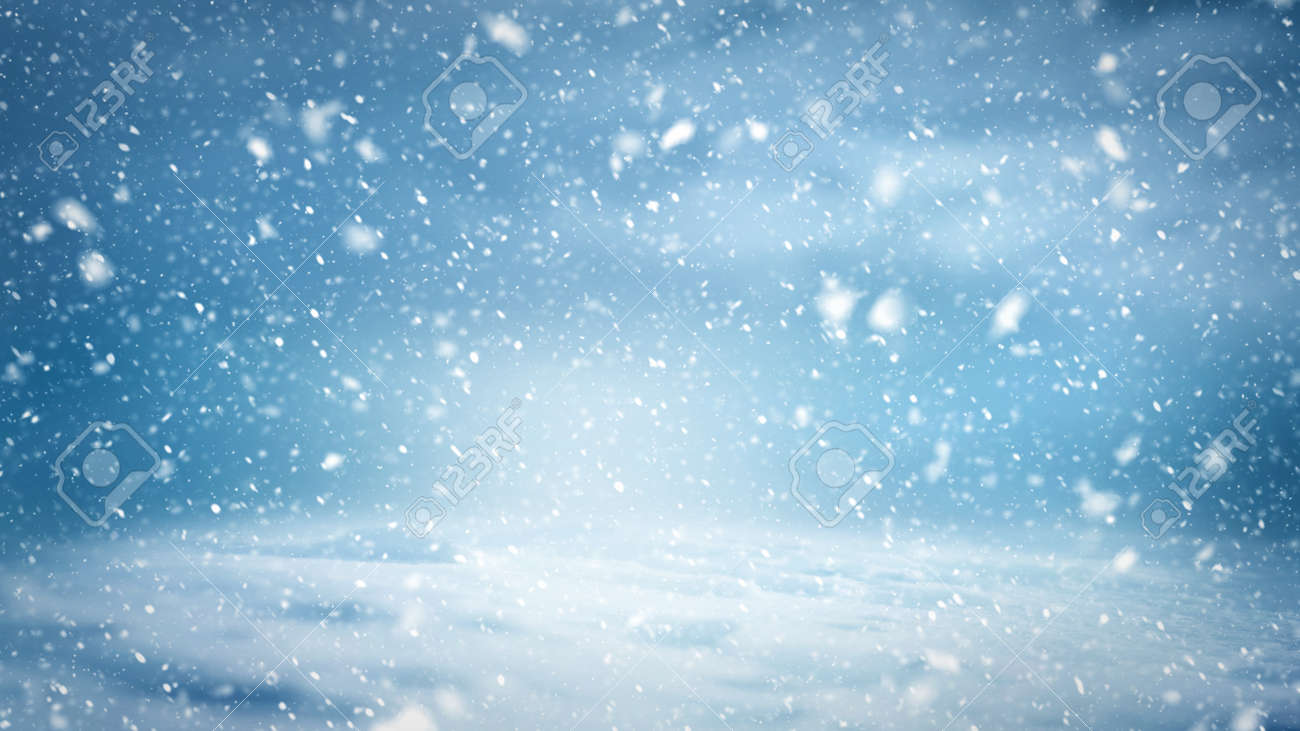 A background pattern of a winter landscape with snowflakes, clouds and cold light - 137081674
