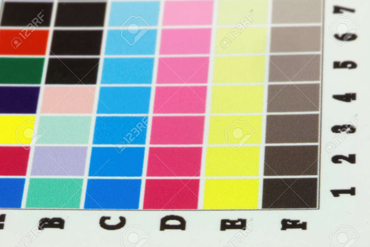 Close-up Of A A Blurry Inkjet Cmyk Test Print With Many Color ...