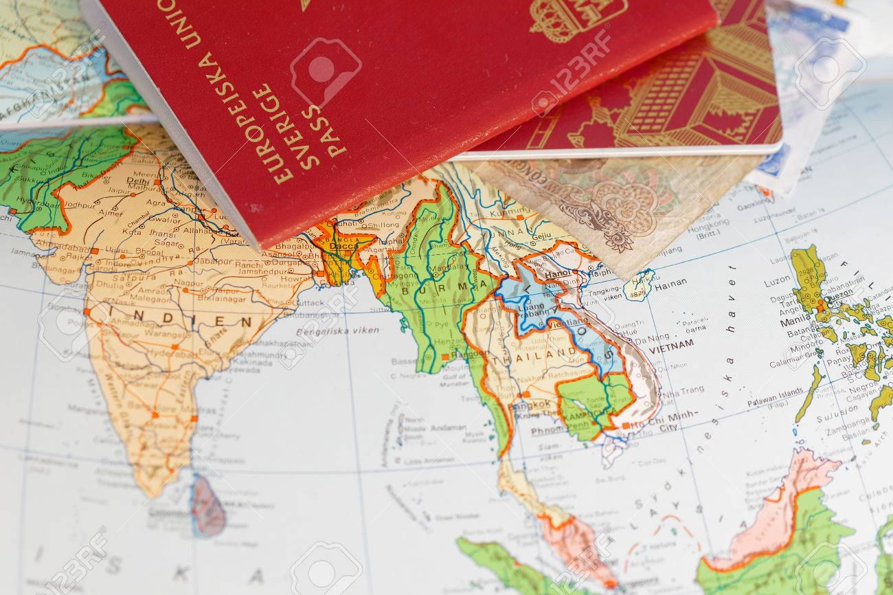 Passport and on a map of asia including india thailand vietnam passport and on a map of asia including india thailand vietnam and burma stock gumiabroncs Images