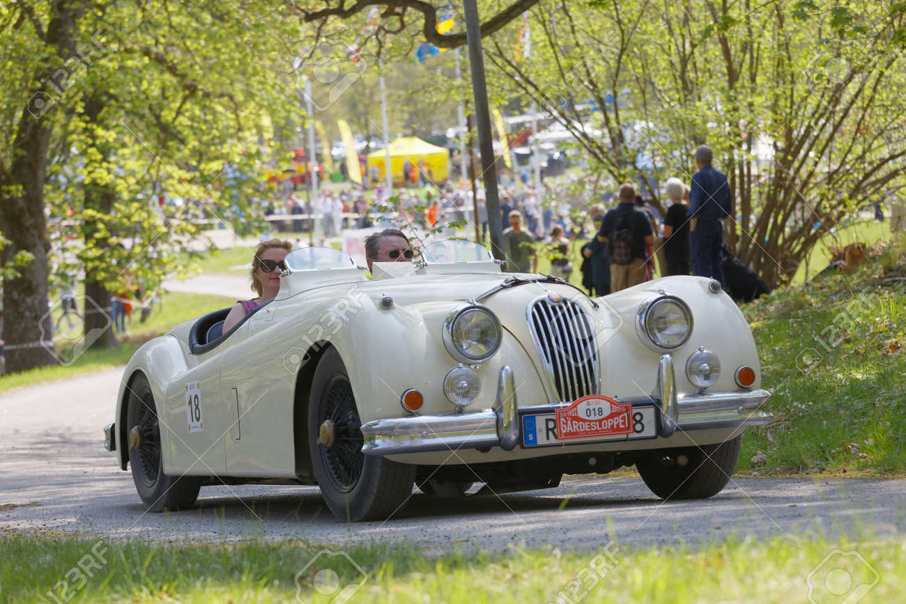 Stockholm Sweden May 22 2017 White Jaguar Xk 140 Mc Classic