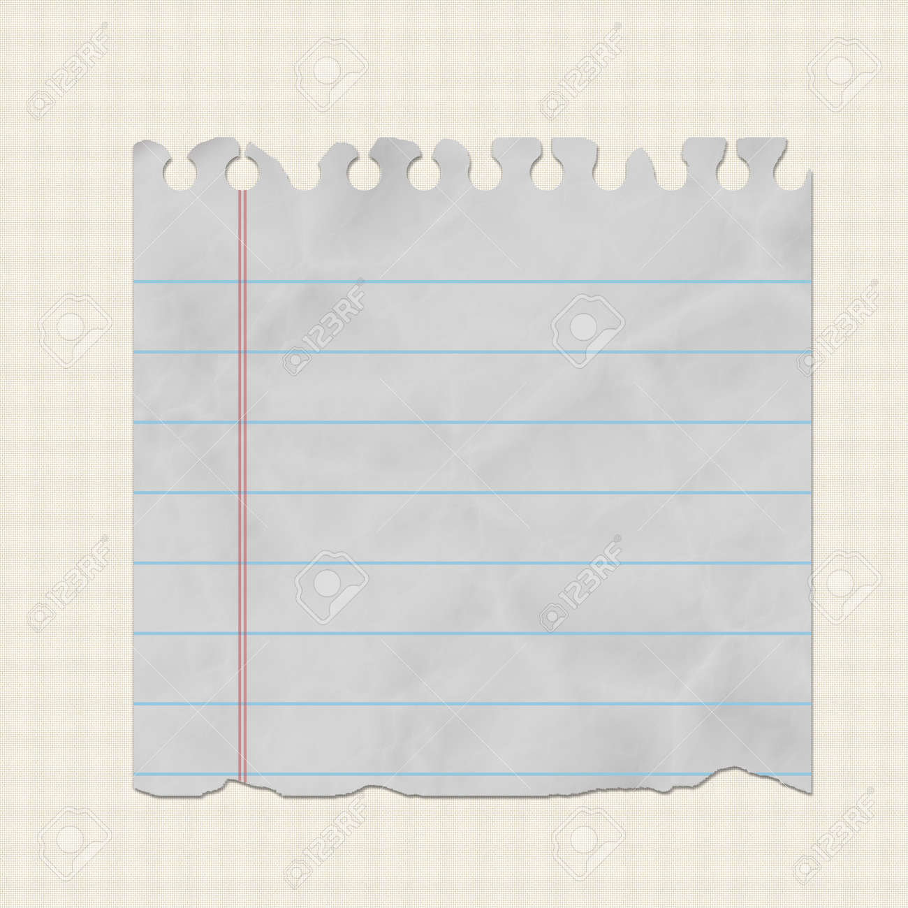 piece of torn notebook paper on canvas background stock photo