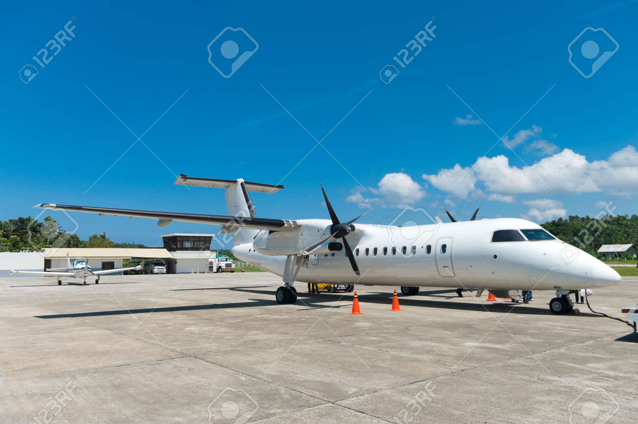 Small Commercial Airplane Parked At Boracay Airport Philippines Stock Photo