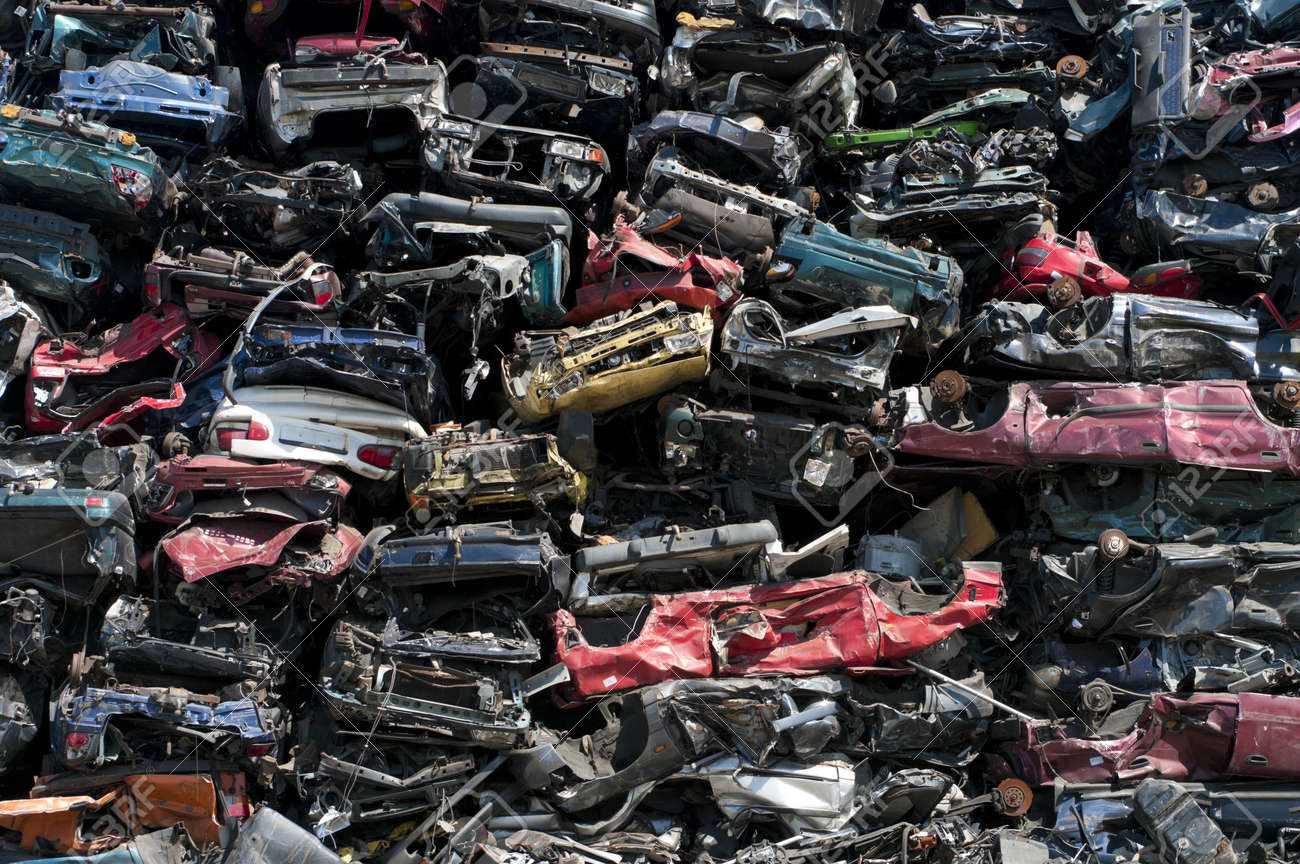 piled up compressed cars going to be shredded Stock Photo - 14631274