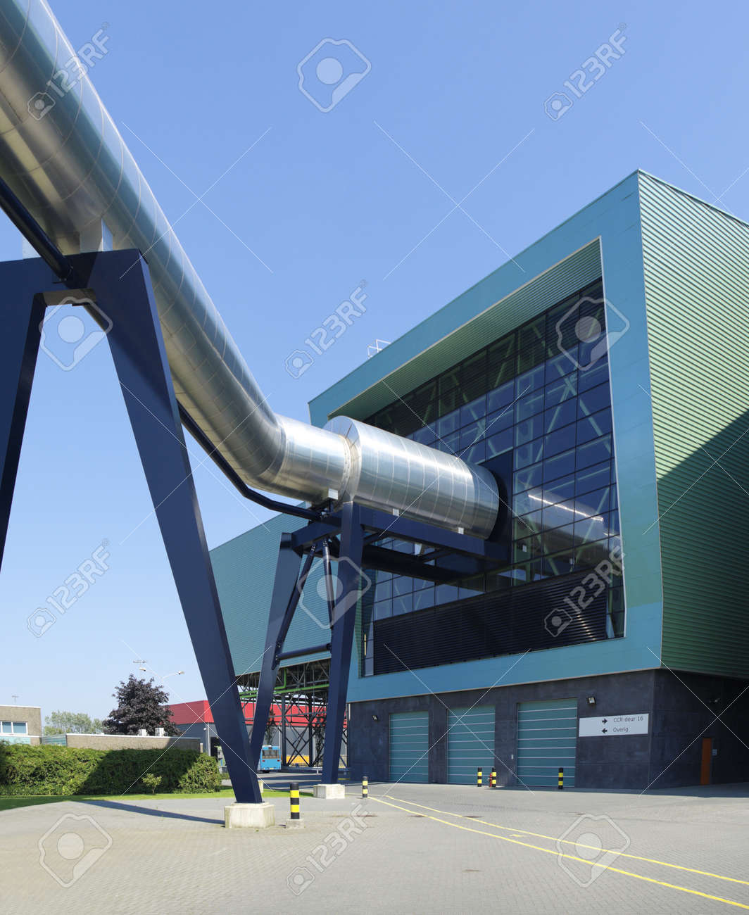 exterior of a modern waste treatment plant with pipes Stock Photo - 16781782
