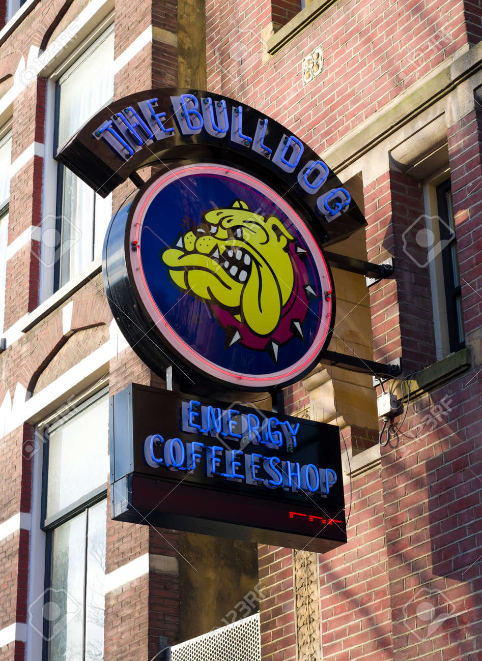 coffee shop sign of the bulldog in amsterdam, Netherlands  From