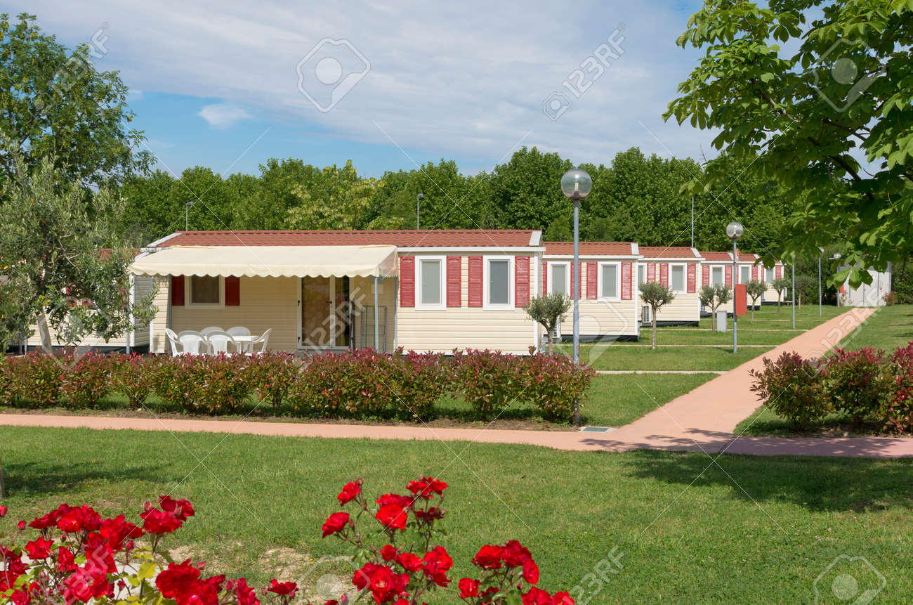 Mobile Home Park Camping Site With Rows Of Identical Mobil Homes
