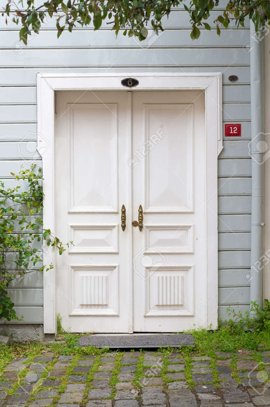 White Front Door Of A Wooden House In Istanbul Turkey Stock Photo