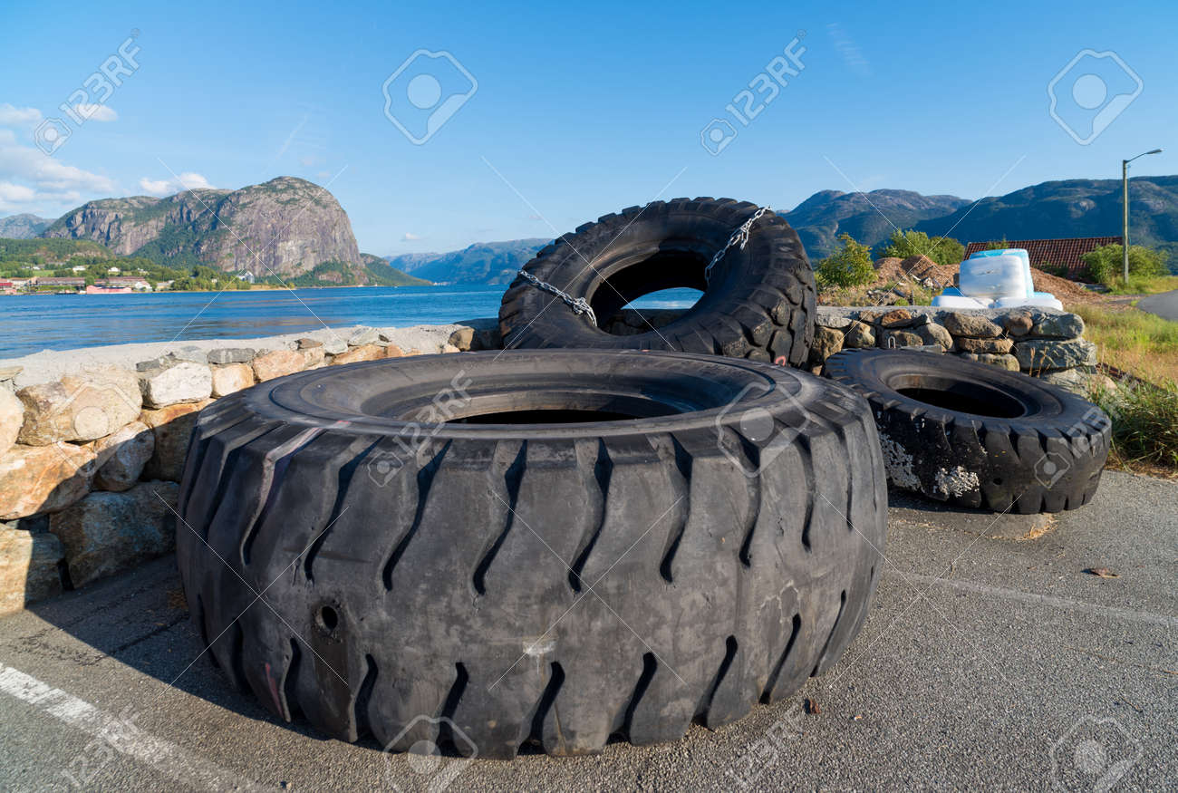 Used Tractor Tires For Sale >> Several Used Tractor Tires At The Lysefjord In Norway They Are