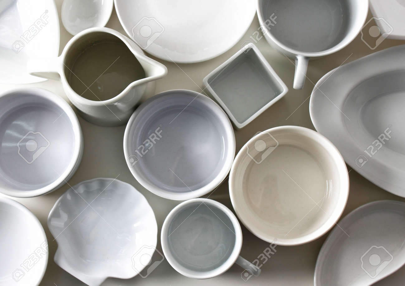 Different kinds of crockery top view Stock Photo - 92630278 & Different Kinds Of Crockery Top View Stock Photo Picture And ...