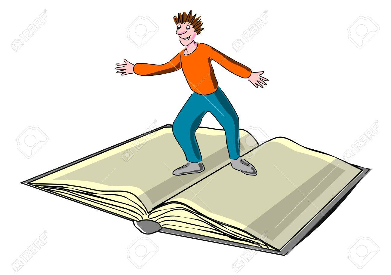 Child surfs on a book, magazine Stock Photo - 11843626