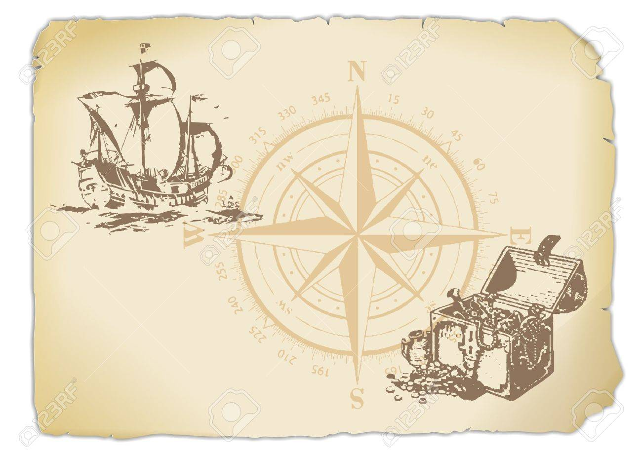 yellowed paper with compass, treasure chest and sailing ship Stock Photo - 12875783