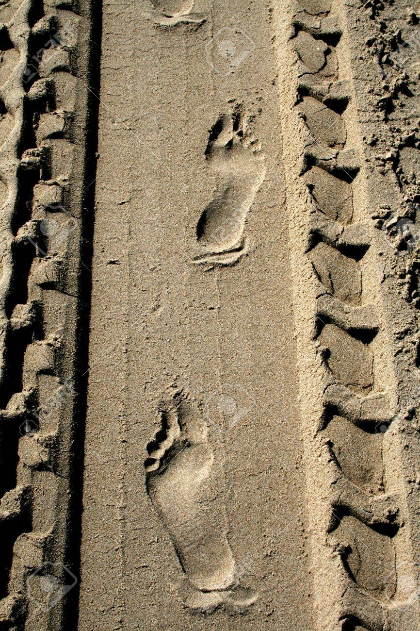 Footprints and tire tracks in the sand Stock Photo - 13758653