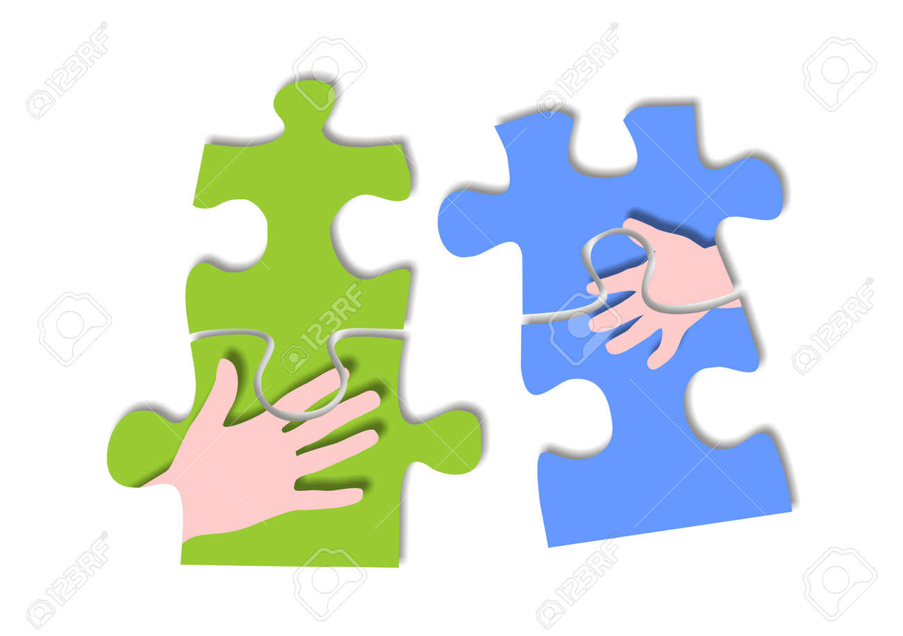 Puzzle pieces pictured with hands Stock Photo - 15099434