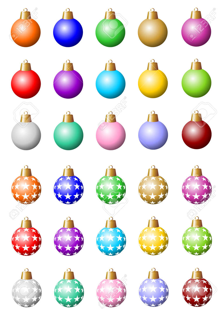 30 various colorful baubles Stock Photo - 15429920