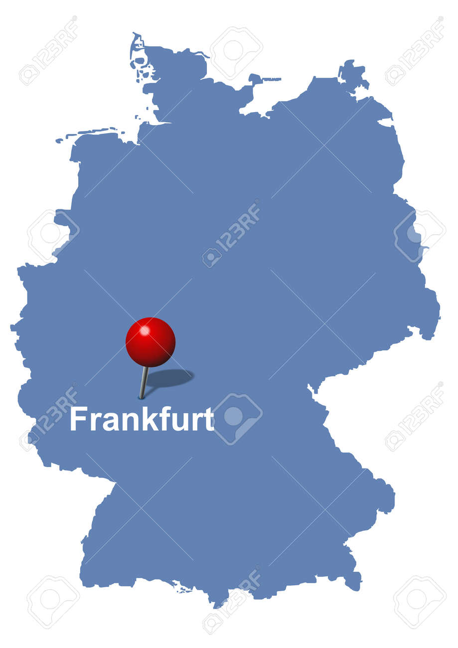 Frankfurt Pictured On The Map Of Germany Royalty Free Cliparts