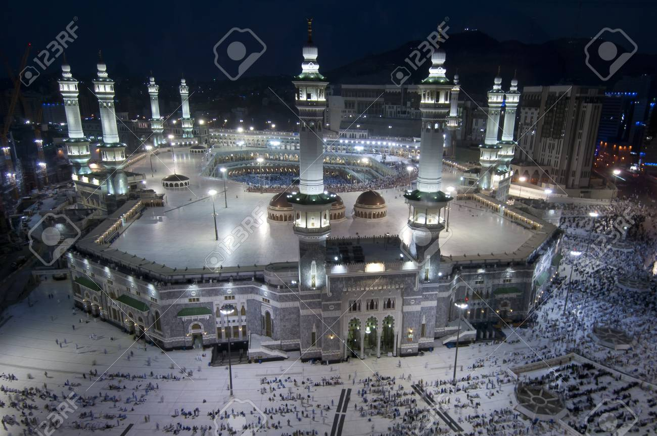 Prayer And Tawaf Of Muslims Around Alkaaba In Mecca Saudi Arabia Stock Photo Picture And Royalty Free Image Image 95574878