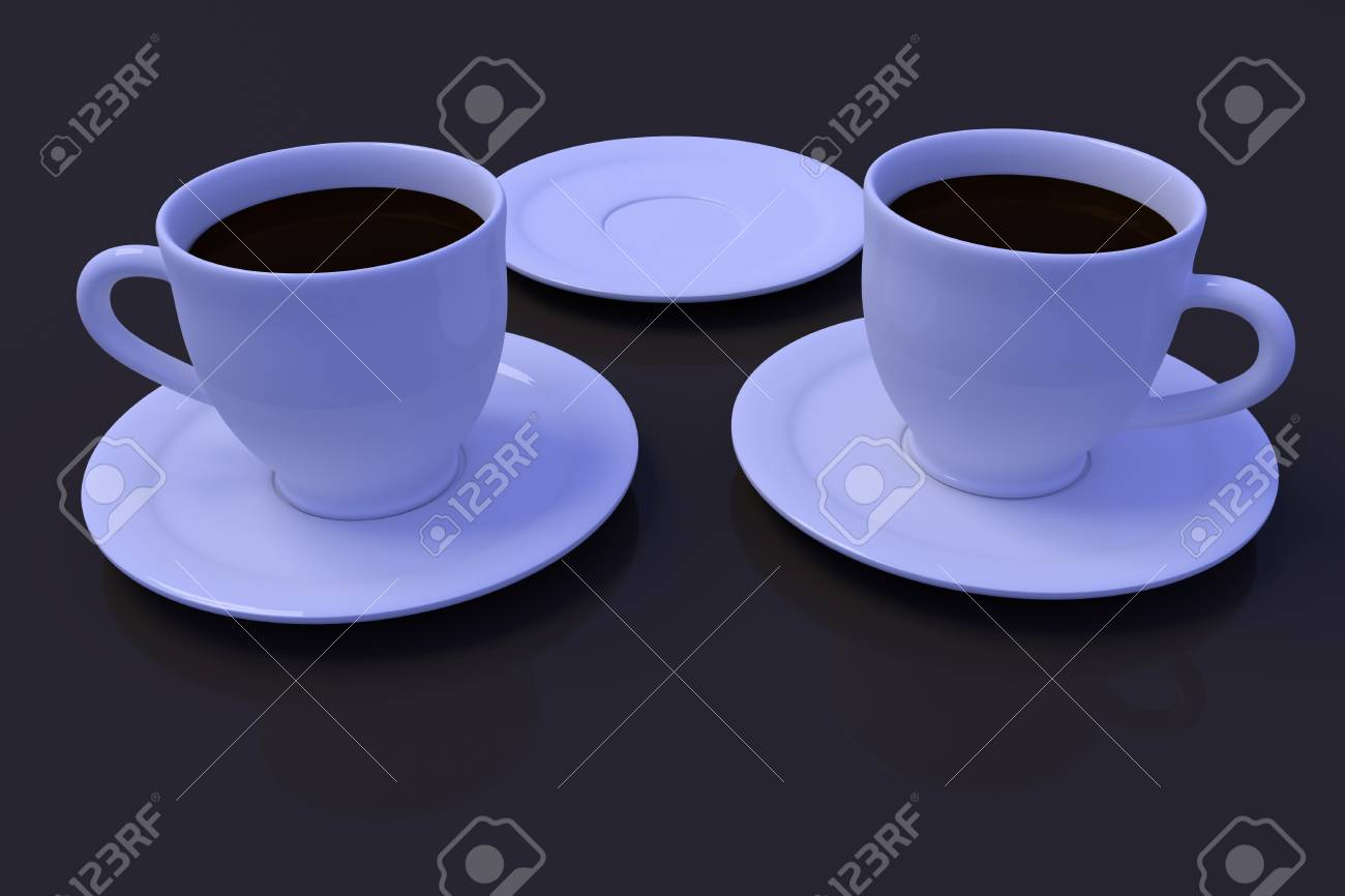 3D rendering of white coffee cups with saucer on a dark reflective