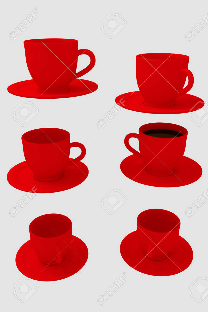 3d rendering of six red coffee cups with saucer isolated on
