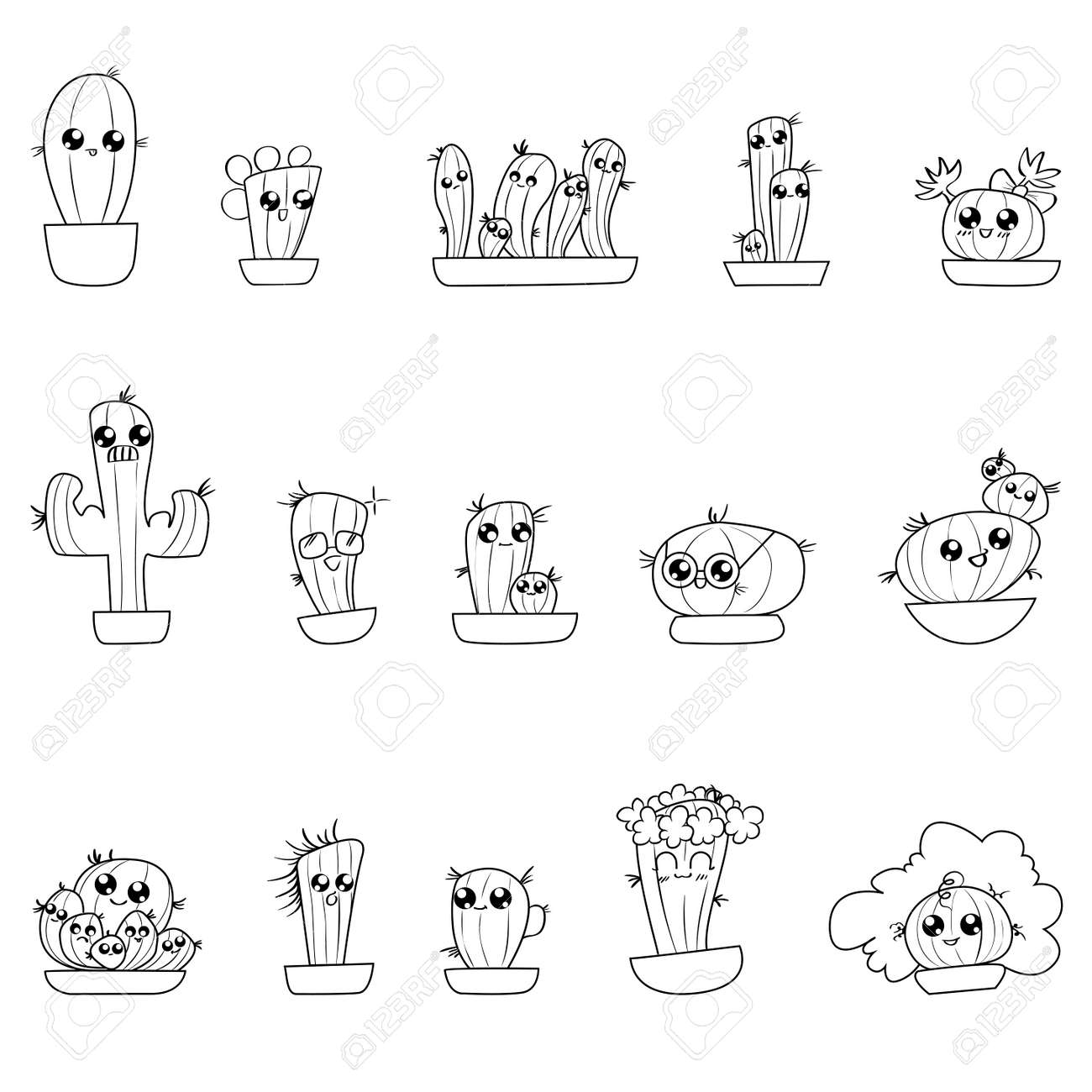 Set Of Cute Cartoon Hand Draw Cactus In Different Pots Royalty Free