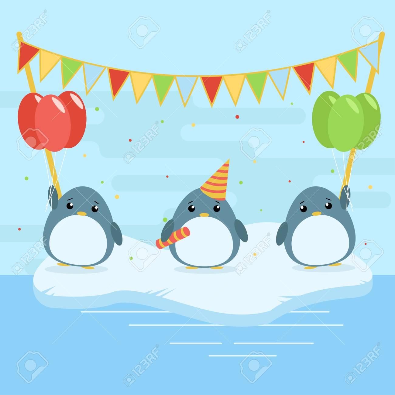 Illustration De Dessin Anime De Trois Pingouins Mignons Avec Des