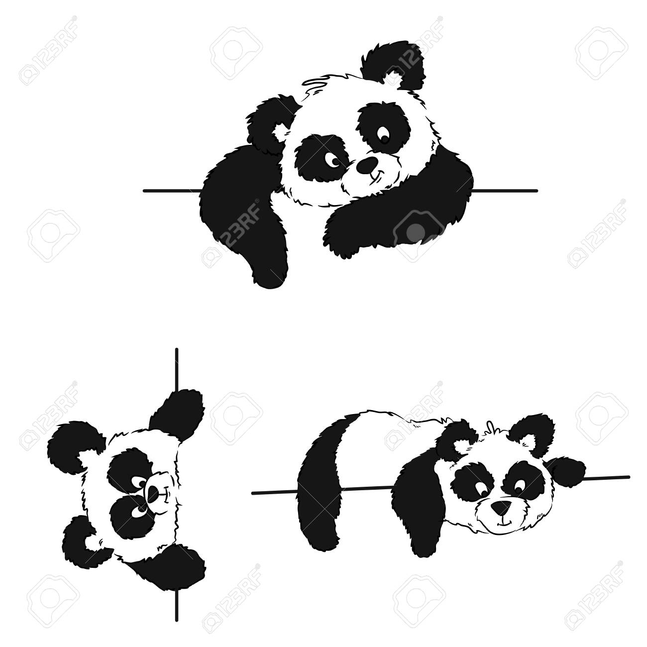 A Set Of Pandas With A Frame For Drawing Postcards And A Menu ...