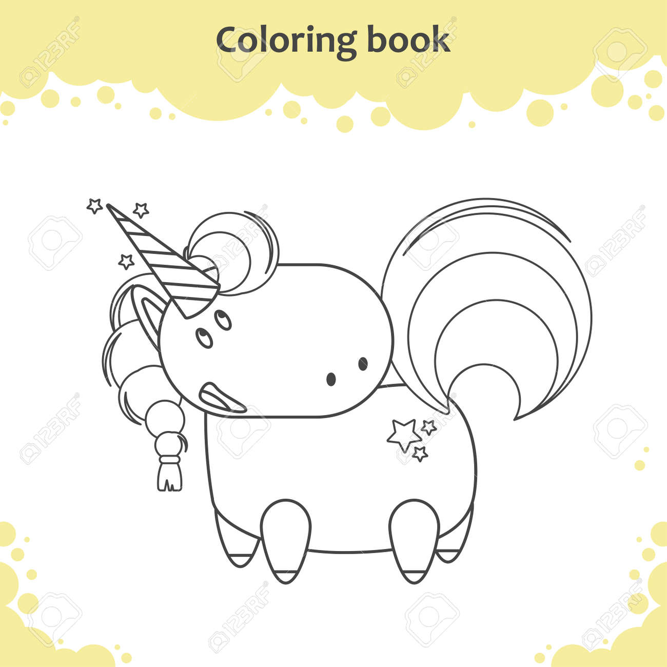 Color The Cute Cartoon Unicorn Coloring Page For Kids Vector