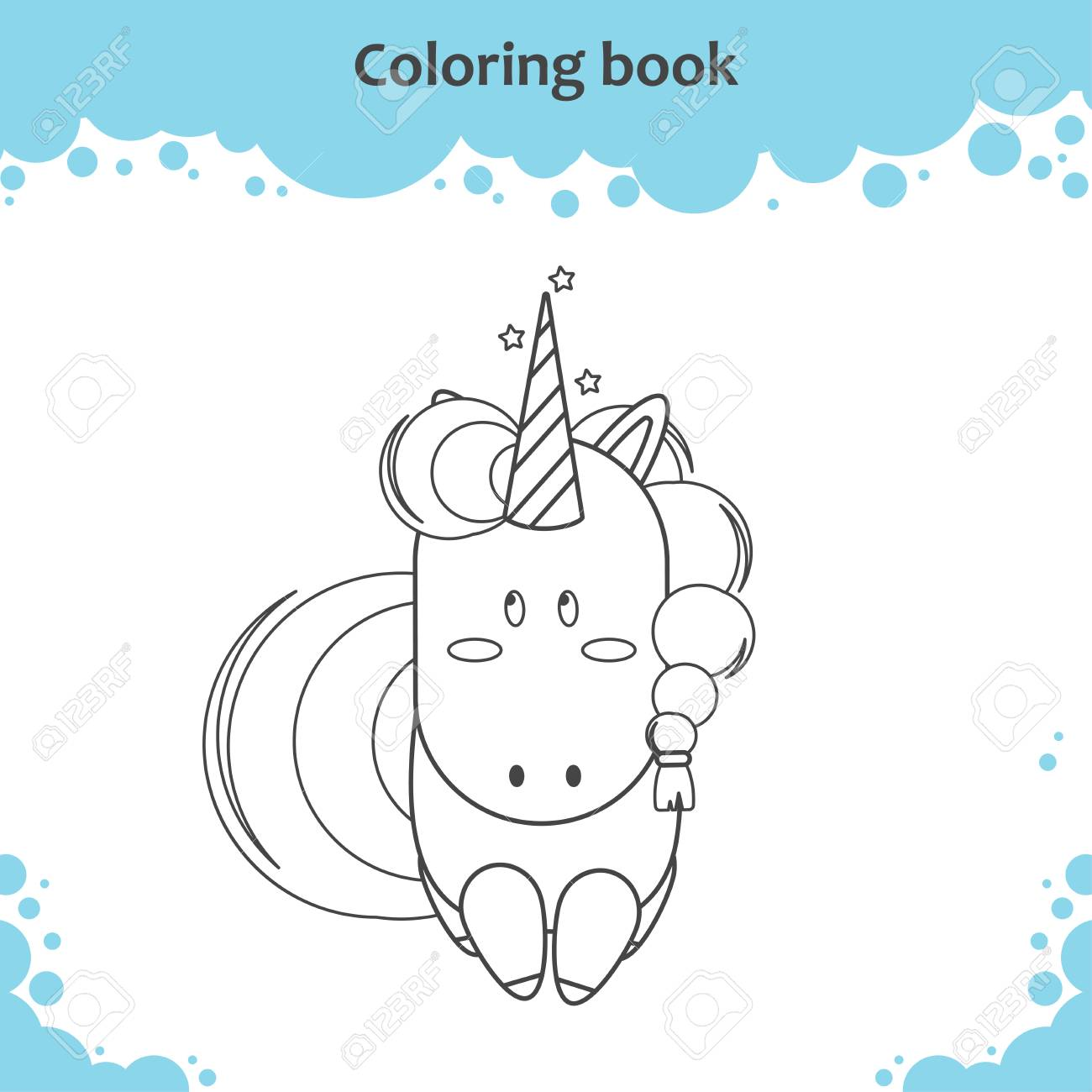 Color The Cute Cartoon Little Unicorn Coloring Page For Kids