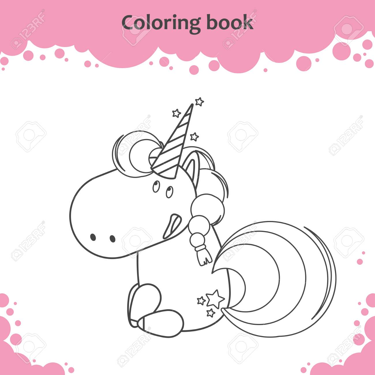 Color The Cute Cartoon Sitting Unicorn Coloring Page For Kids