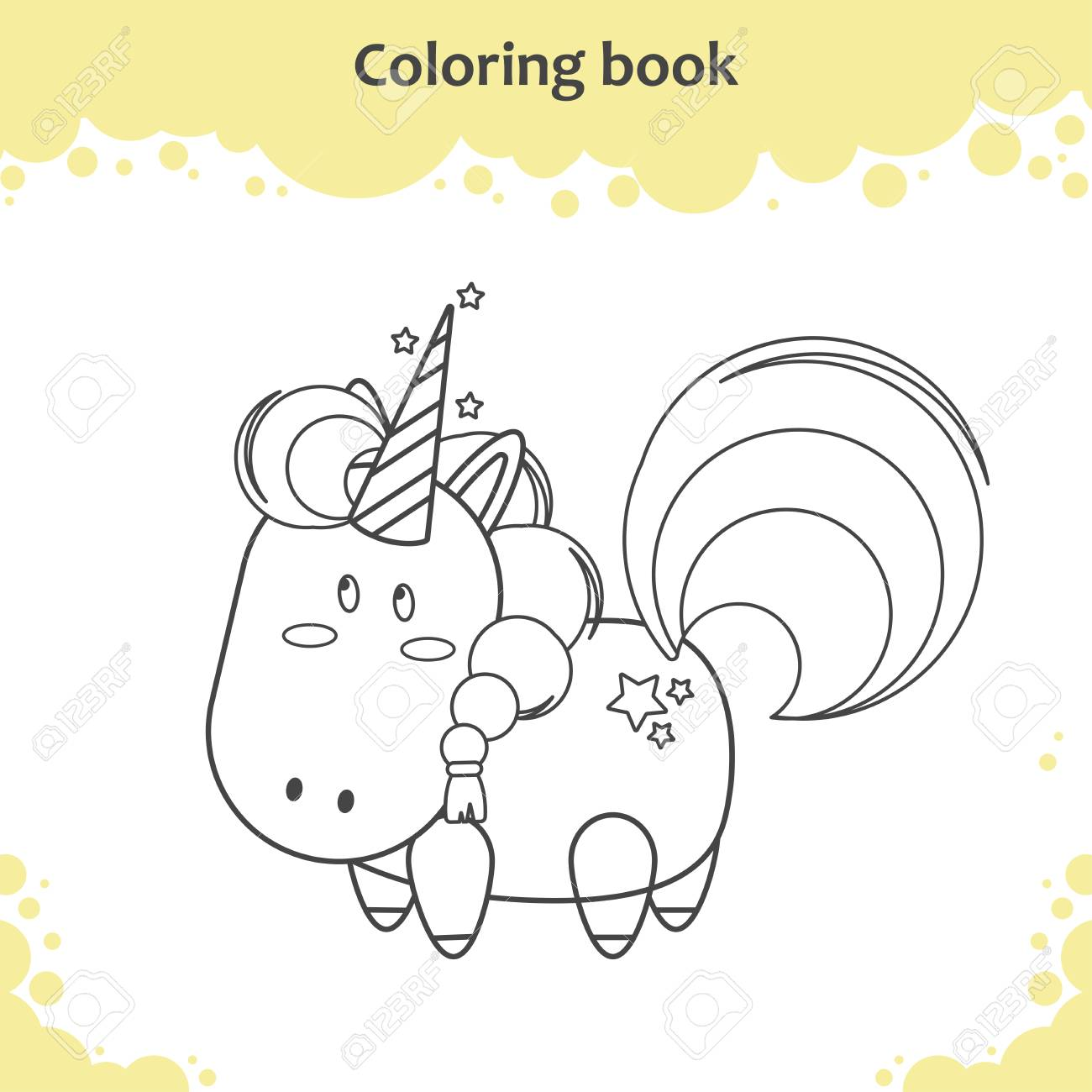 Color The Cute Cartoon Unicorn - Coloring Book For Kids Royalty Free ...