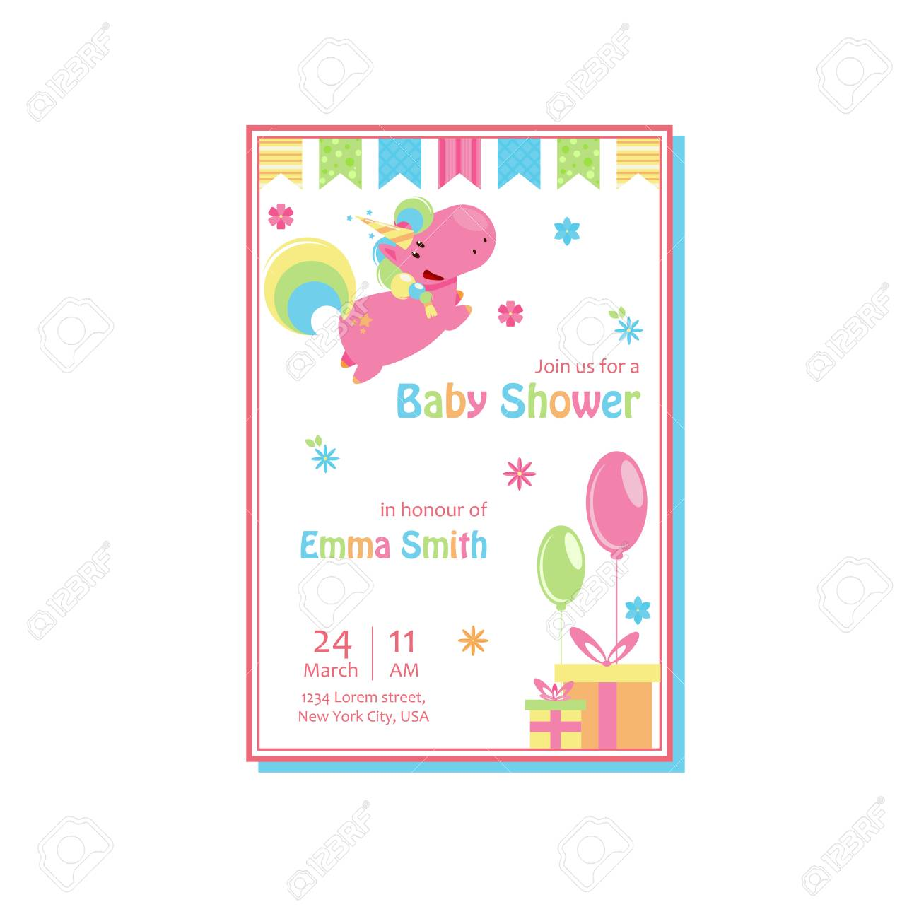 Beautiful Baby Shower Card Template With Lovely Unicorn Baby