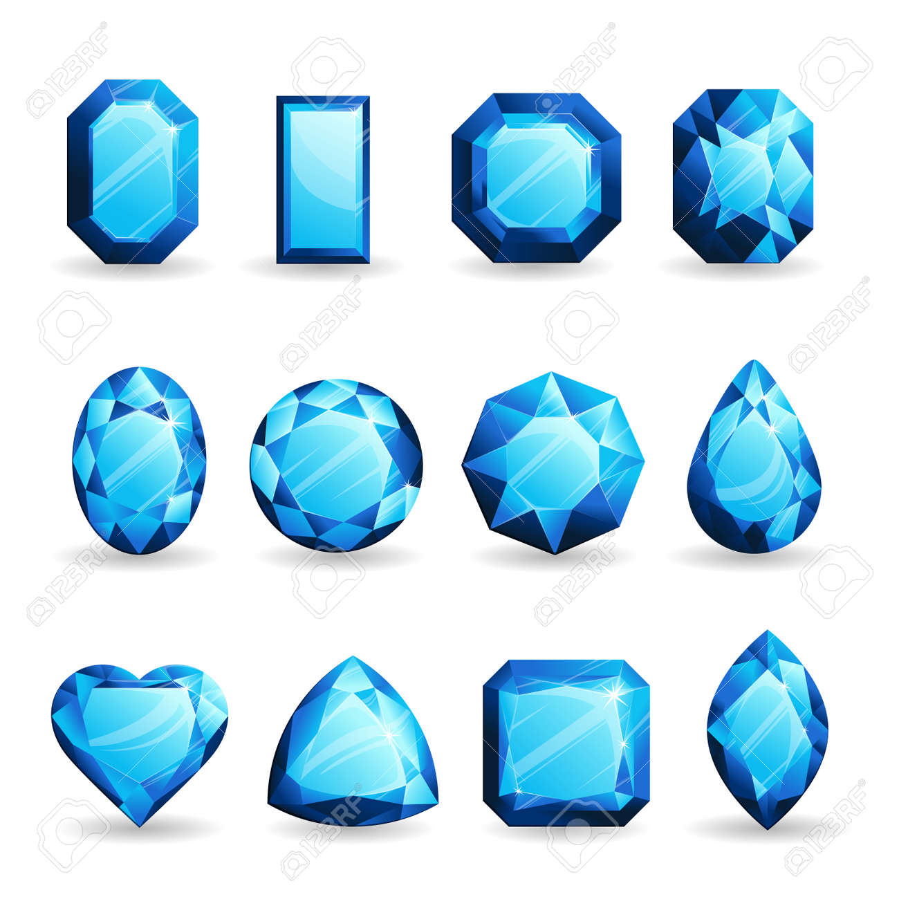 Set Of Realistic Light Blue Gemstones. Topaz Of Different Forms Isolated On  White Background. Nice Ideas