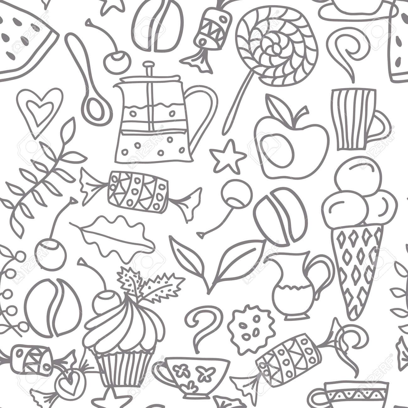 Tee Und Kaffee Nahtlose Muster. Tee, Kaffee Und Süßigkeiten Kritzeln ...